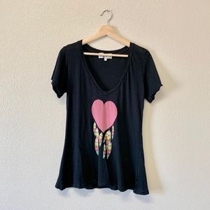 Wildfox Heart Feather Graphic Distressed T-Shirt